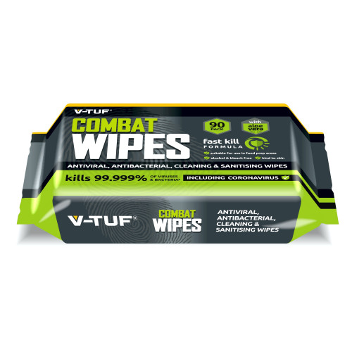 V-TUF COMBAT WIPES AntiViral AntiBacterial Hand & Surface Cleaning Disinfectant Wipes - 90 per Pack (with Aloe Vera) - VTABW-90