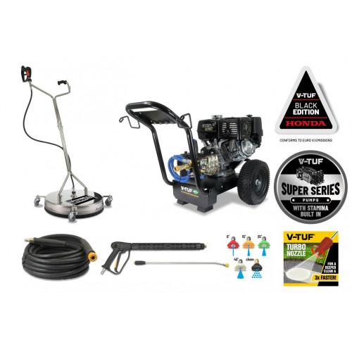 "V-TUF DD130 Industrial 13HP Honda Driven Petrol Pressure Washer - 4350psi,300Bar (max) 250 Bar WP 15L/min - 21"" tufTURBO Stainless Patio Cleaner"