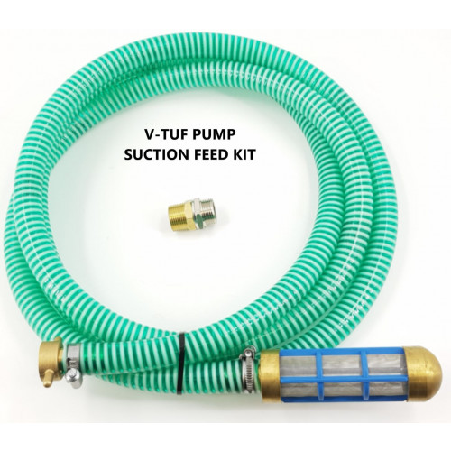 V-TUF HEAVY DUTY CRUSH RESISTANT PUMP SUCTION FEED HOSE KIT (3m) 3/4F AND 3/4M ADAPTER