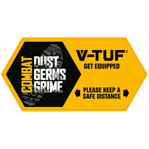 STICKER V-TUF FLOOR STICKER - SAFE DISTANCE  290mm x 143mm