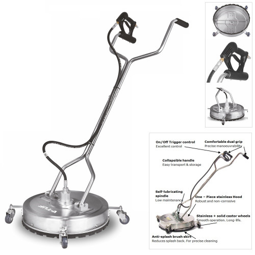 """SURFACE CLEANER - 21"""" 533mm Stainless-Steel Industrial - with Advanced V-Spin Cleaning Technology - H1.007"""