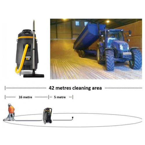 V-TUF 3.3KW 110L XTRA LARGE & RUGGED Industrial Powerful Grain Store Vacuum Cleaner + 15M Hose