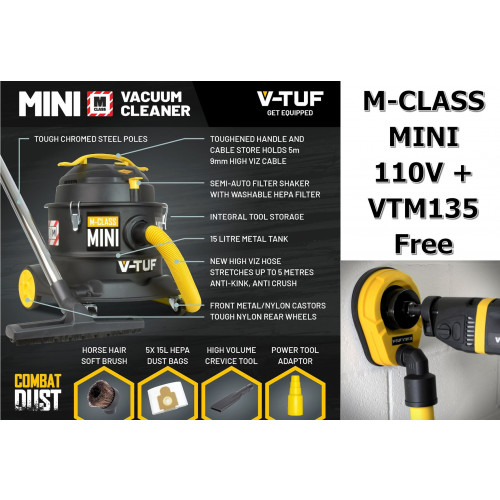 V-TUF M-Class MINI Dust Extraction Vacuum Cleaner - 110V + VTM135 85MM CORE DRILLING ATTACHMENT