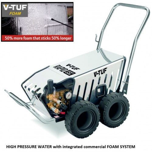 V-TUF RAPIDSSC 240v All-Stainless Industrial Pressure Washer (Total Stop) with COMMERCIAL FOAM SYSTEM