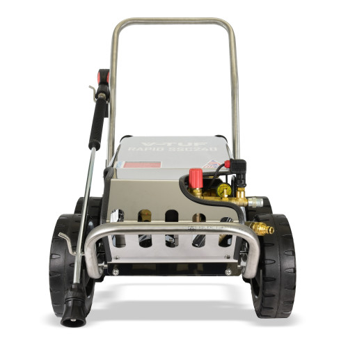 V-TUF RAPID-SSC 240v All-Stainless Industrial Mobile Pressure Washer - 1500psi, 100Bar, 12L/min (with Total Stop)