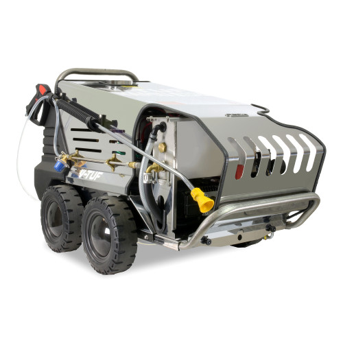 RAPID VTS HPC 240v Hot-Water Stainless Industrial Mobile Pressure Washer - 1500psi, 100Bar, 12L/min - High-Pressure Chemical Penetration