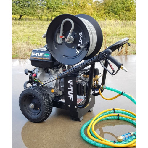 TORRENT3GB-21HR Industrial 15HP Gearbox Driven Petrol Pressure Washer - 3000psi, 200Bar, 21L/min - with Hose Reel