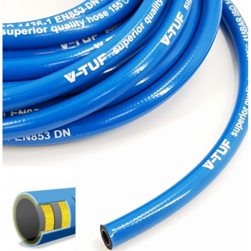 "2 WIRE, 3/8"" 155°C  V-TUF Smooth Cover BLUE JETWASH (Per metre)"