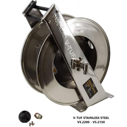 20M V-TUF Retractable Hose Reel - Stainless Steel