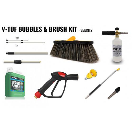 V-TUF BUBBLES & BRUSH PRO CAR CLEANING ATTACHMENT KIT