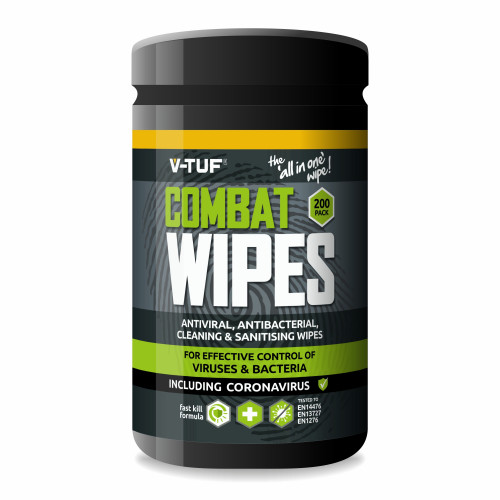 V-TUF COMBAT WIPES AntiViral AntiBacterial Hand & Surface Cleaning Disinfectant Wipes - 200 per Tub (with Aloe Vera)