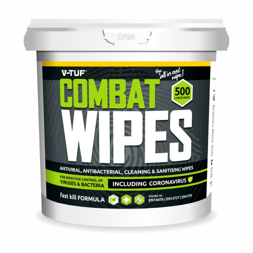 V-TUF COMAT WIPES AntiViral AntiBacterial Hand & Surface Cleaning Disinfectant Sanitising Wipes (500 Wipes per Tub)