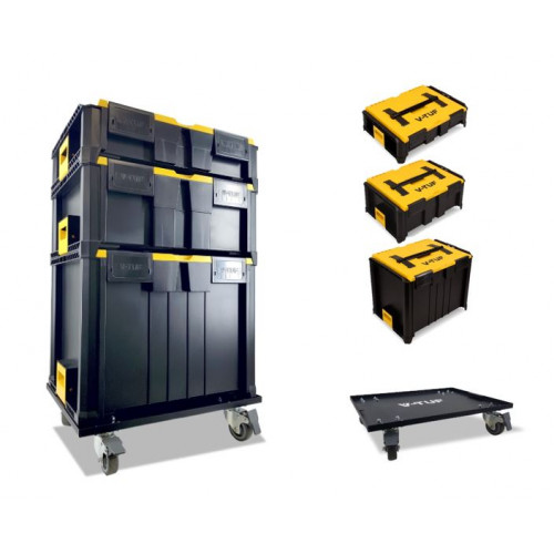 STACKPACK 4 CASTOR TROLLY & 3 STACKPACK BOXES - V-TUF STORAGE BOX SYSTEM STARTER KIT