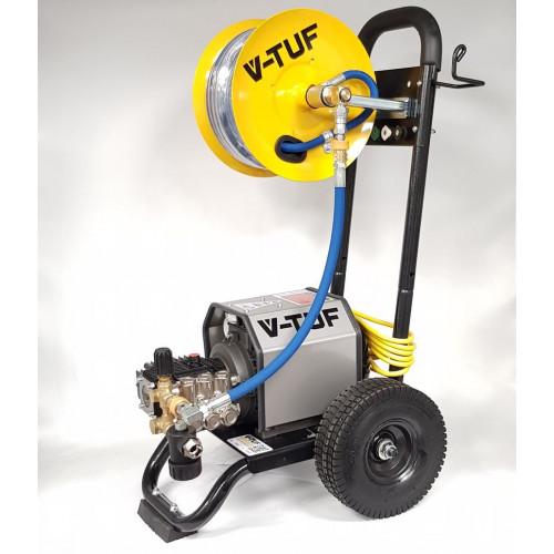 VTUF240HR - 240v Compact, Industrial, Mobile Electric Pressure Washer c/w 20m HOSE REEL - 1450psi, 100Bar, 12L/min