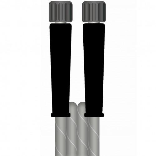 10m 2w 5/16 GREY V-TUF HOSE 22F X 22F BLACK cuffs